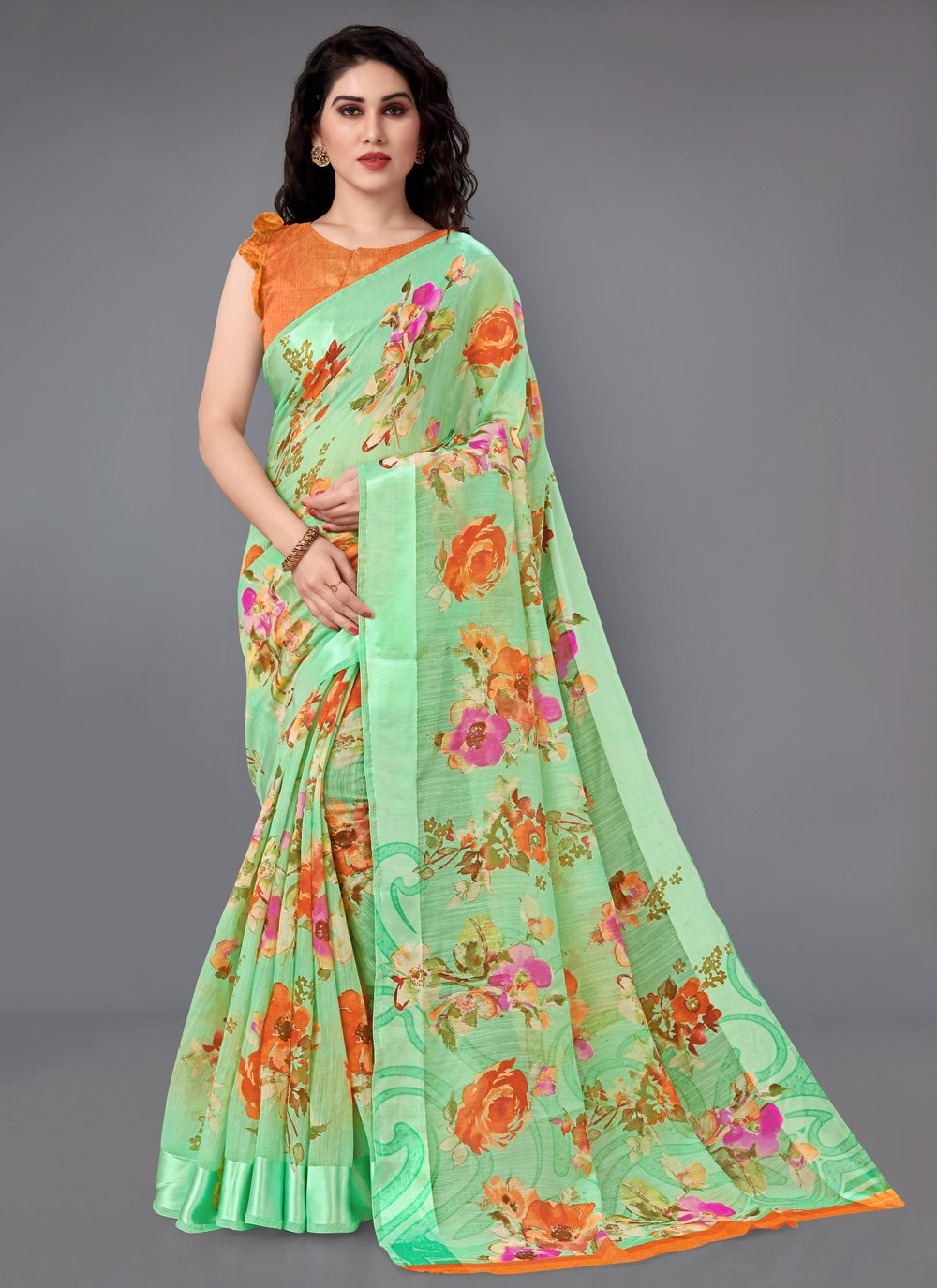 Green Cotton Casual Saree