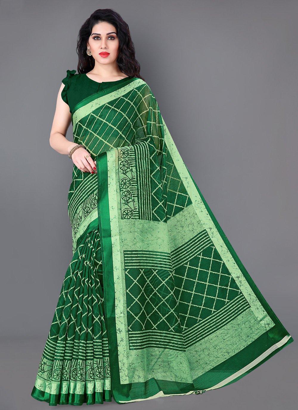 Green Cotton Contemporary Saree