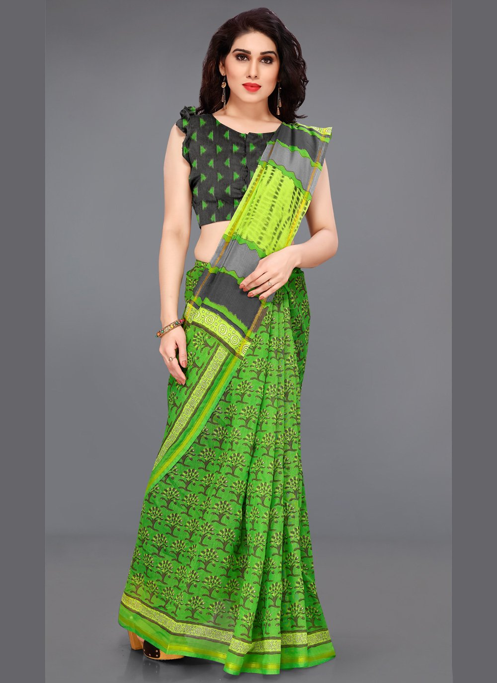 Green Cotton Contemporary Saree