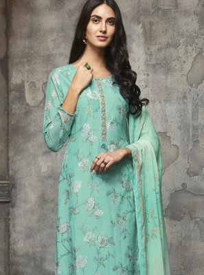 Green Cotton Designer Pakistani Salwar Suit
