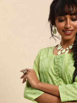 Green Cotton Festival Designer Kurti