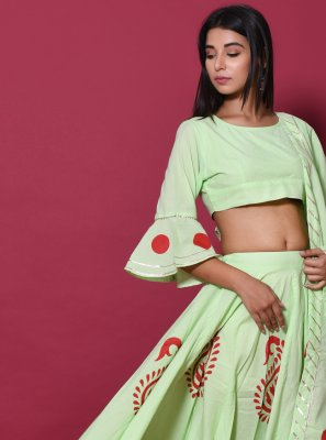 Green Cotton Lehenga Choli