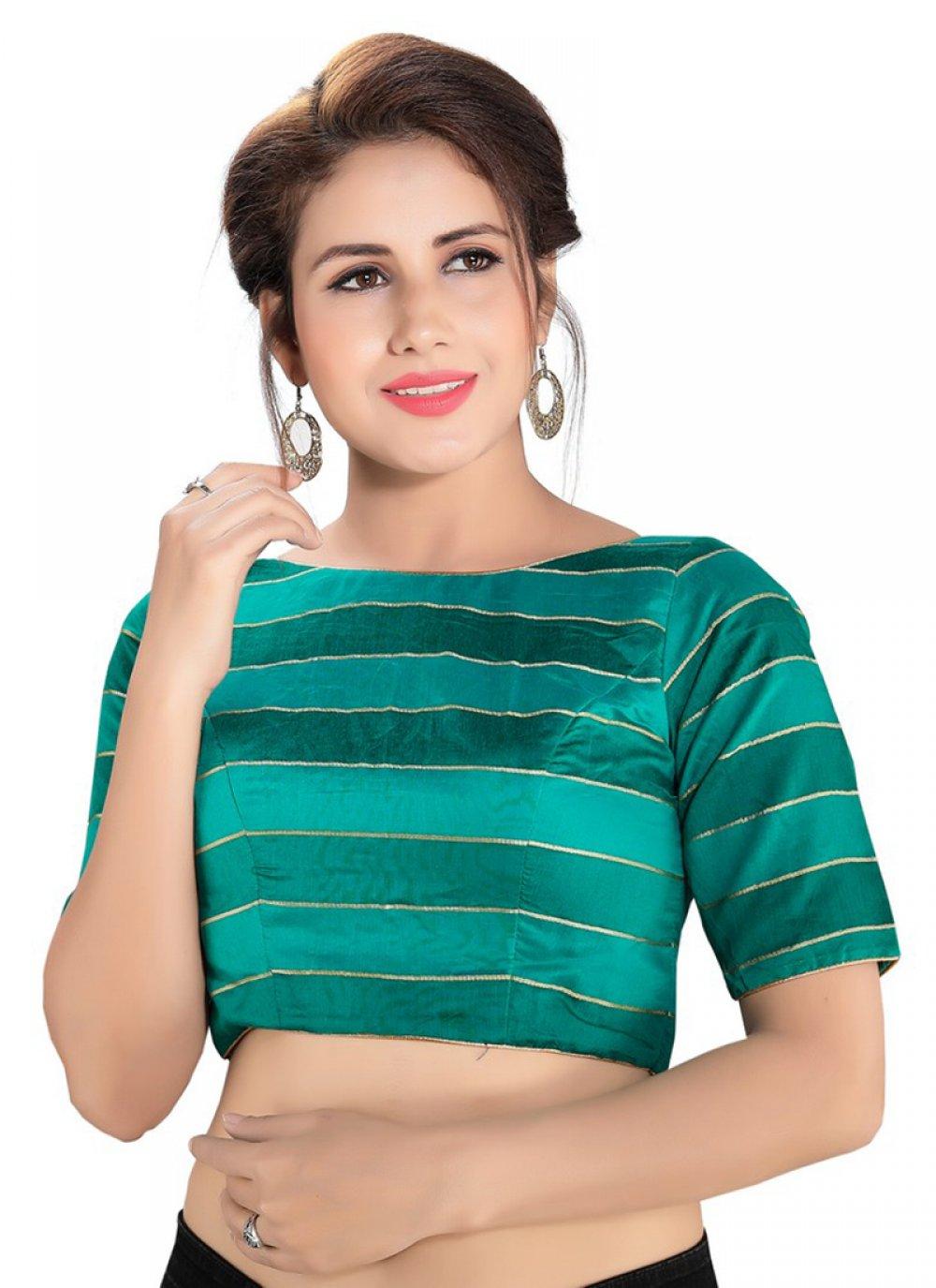 Green Cotton Mehndi Designer Blouse