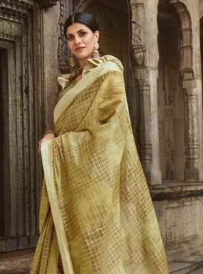 Green Cotton Party Casual Saree