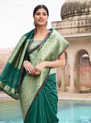 Green Cotton Party Classic Designer Saree