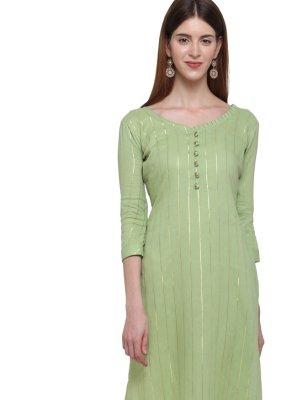 Green Cotton Plain Casual Kurti