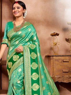 Green Cotton Silk Casual Saree