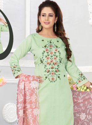 Green Cotton Silk Embroidered Salwar Suit