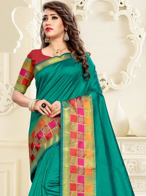 Green Cotton Silk Engagement Saree