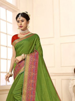 Green Cotton Silk Party Casual Saree