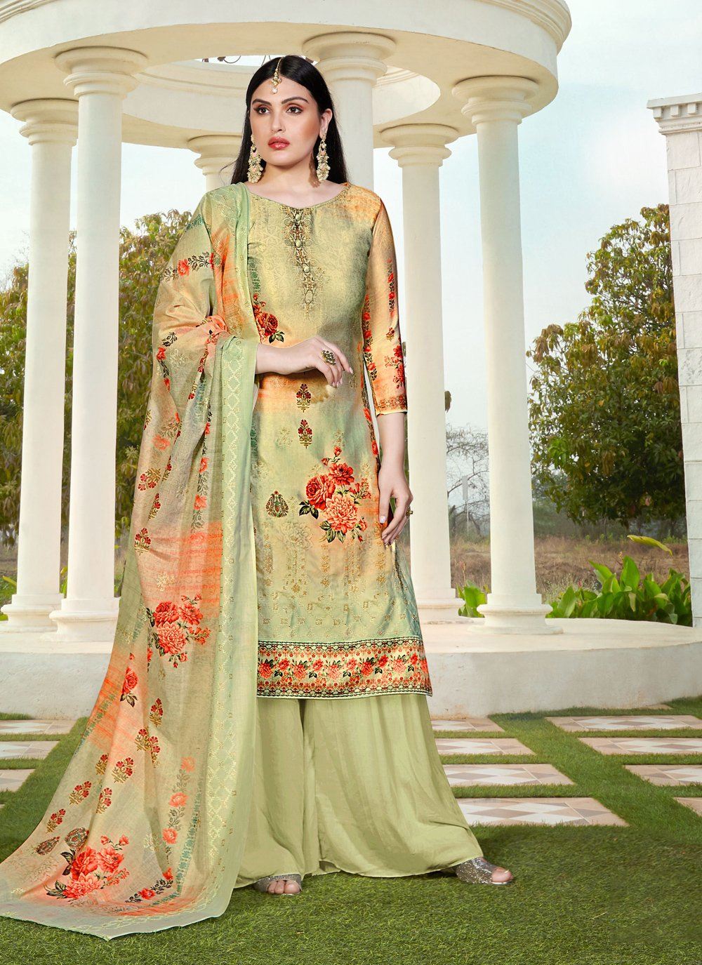 Green Cotton Silk Party Designer Palazzo Suit