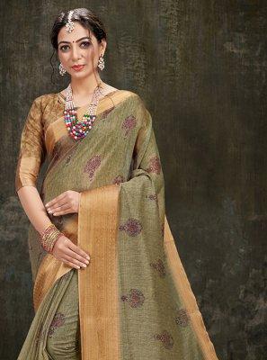 Green Cotton Silk Reception Printed Saree