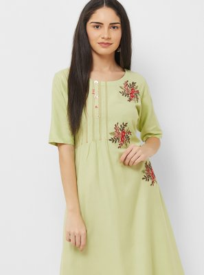 Green Cotton Thread Work Party Wear Kurti