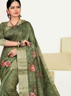 Green Cotton Traditional Designer Saree