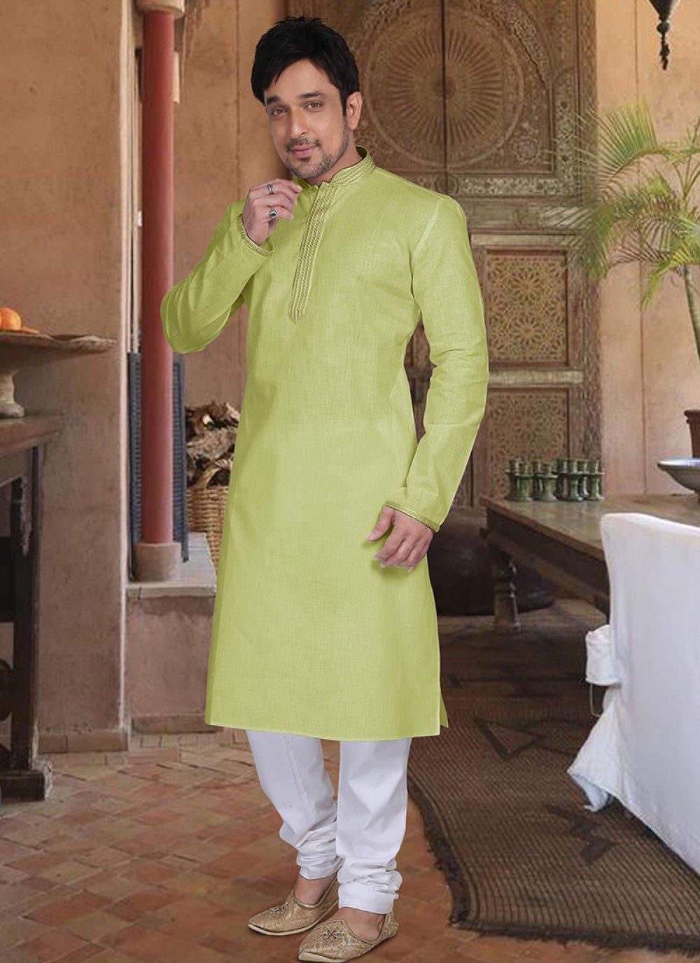 Green Cotton Wedding Kurta Pyjama