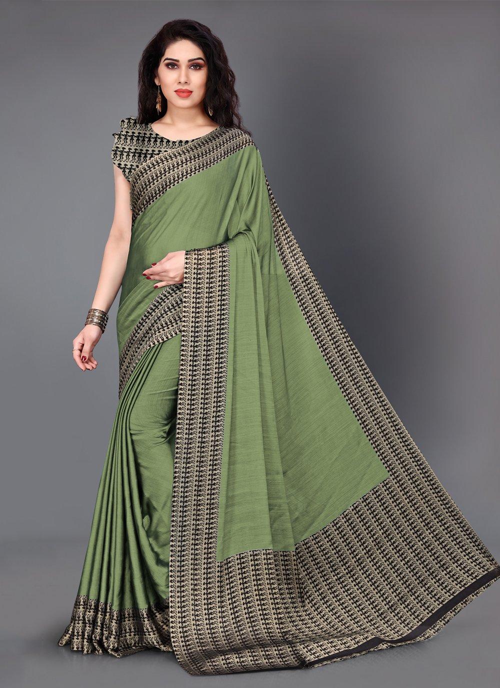 Green Crepe Silk Classic Saree