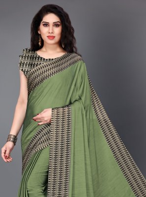 Green Crepe Silk Classic Saree