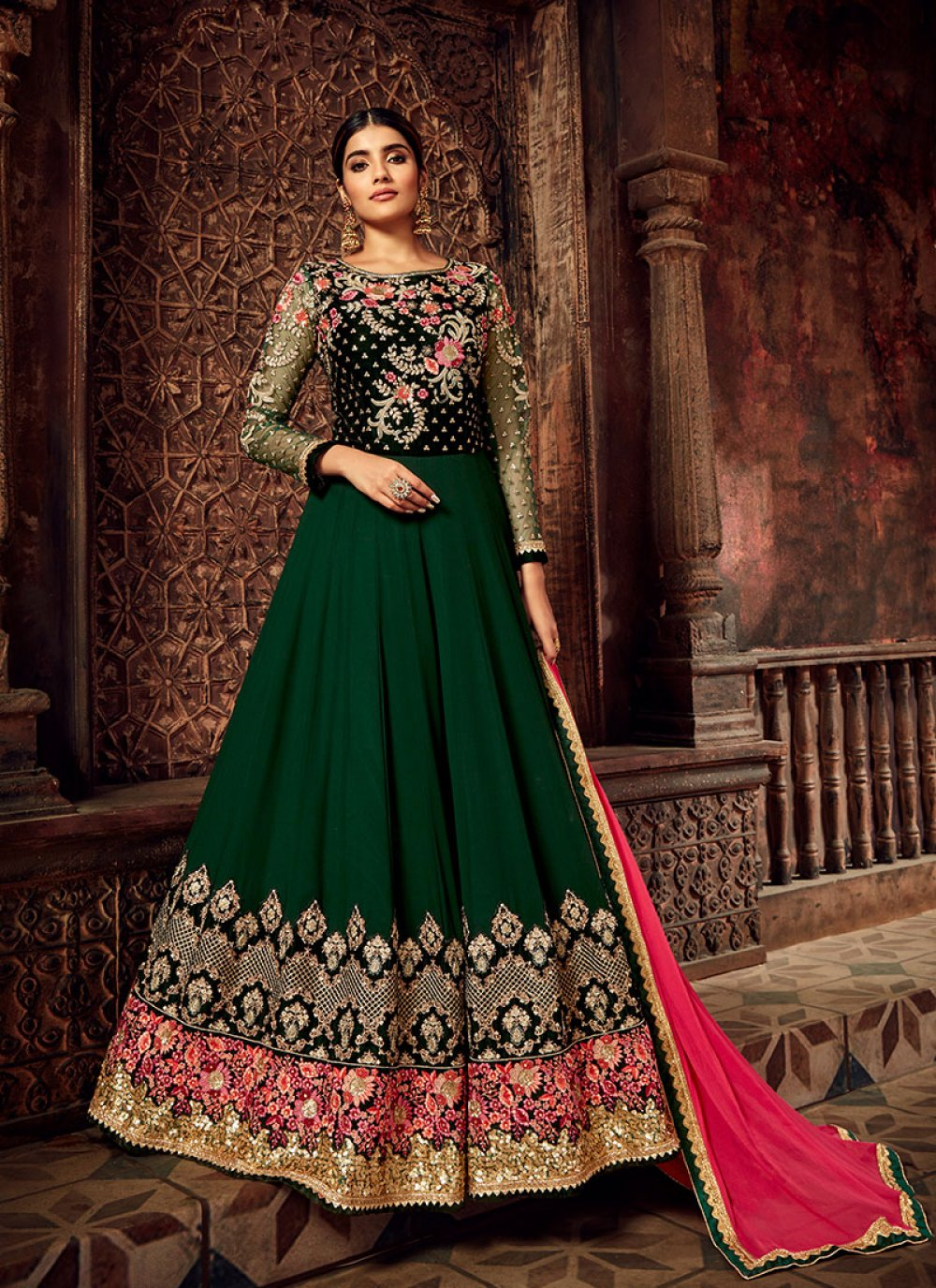 Green Desinger Anarkali Salwar Suit
