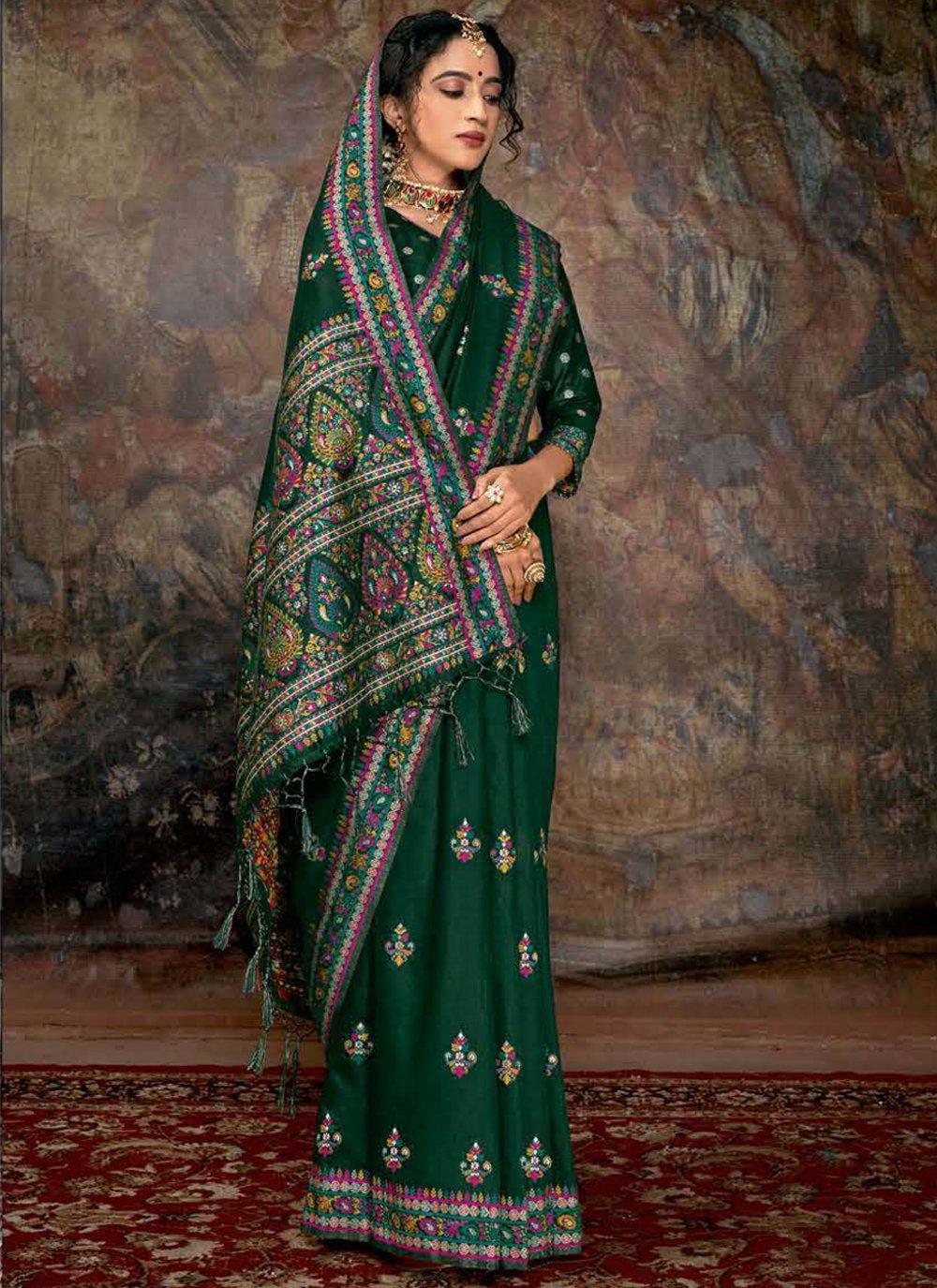 Green Digital Print Banarasi Silk Trendy Saree