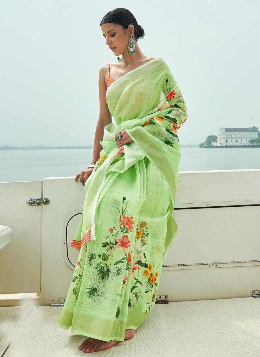 Green Digital Print Classic Saree