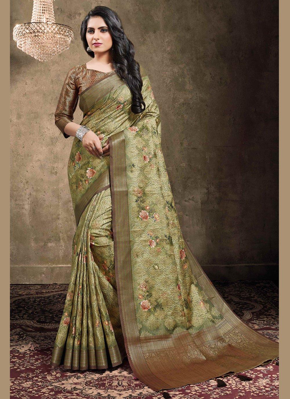 Green Digital Print Jacquard Traditional Saree