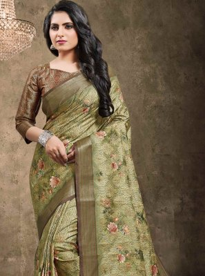 Green Digital Print Jacquard Traditional Saree