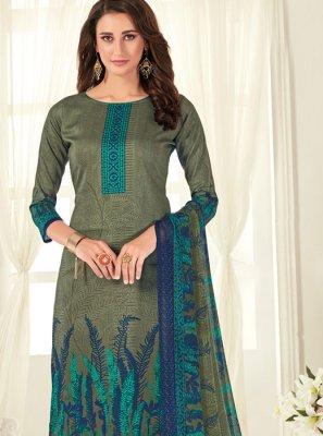 Green Digital Print Palazzo Designer Salwar Suit