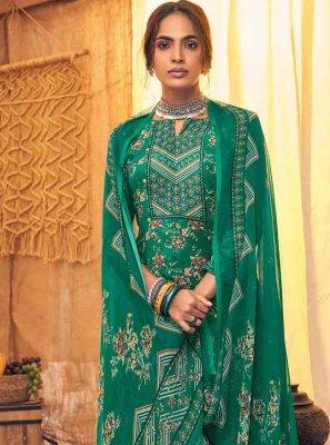 Green Digital Print Palazzo Salwar Suit