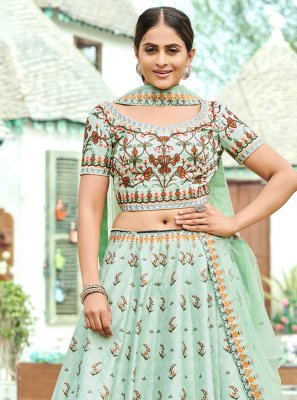 Green Digital Print Silk A Line Lehenga Choli