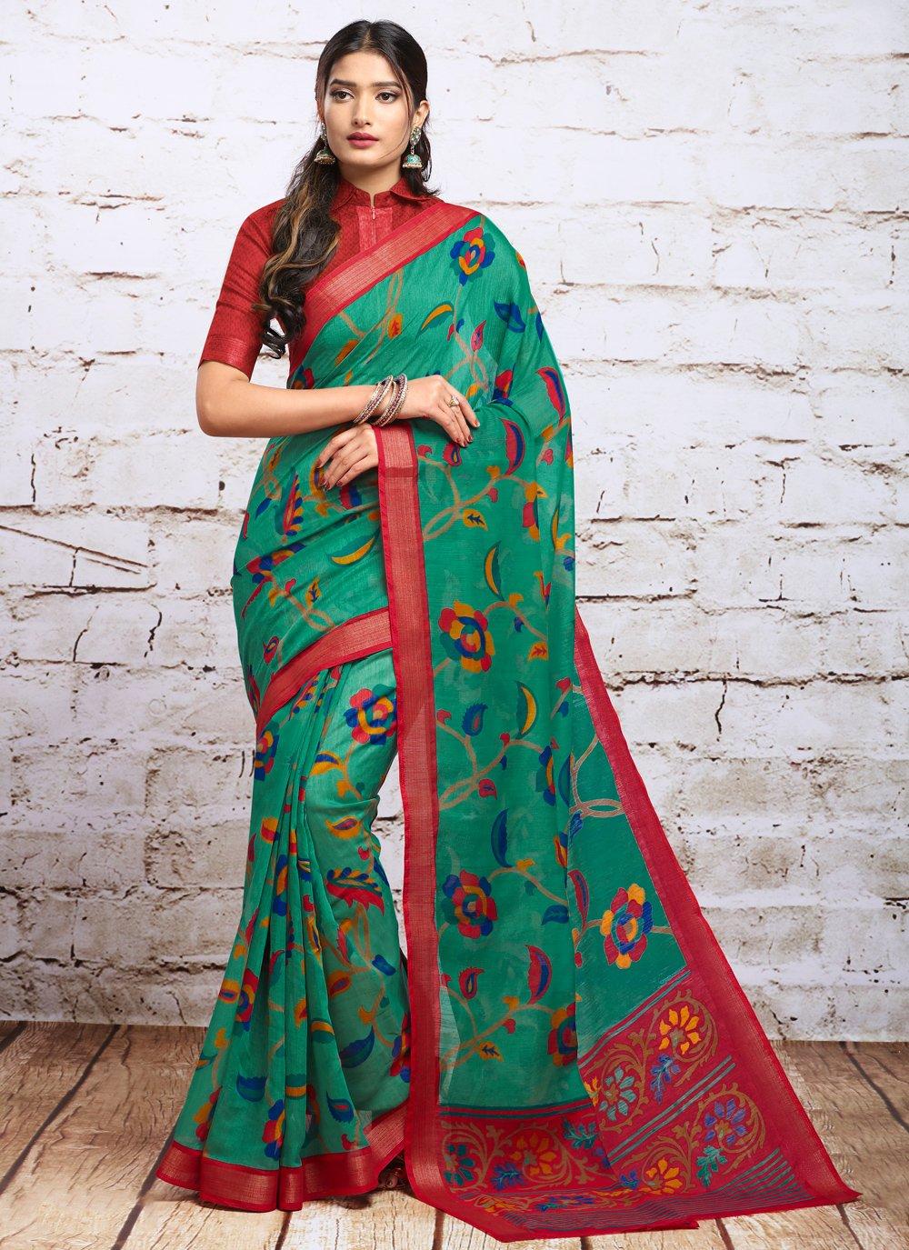 Green Digital Print Silk Contemporary Saree