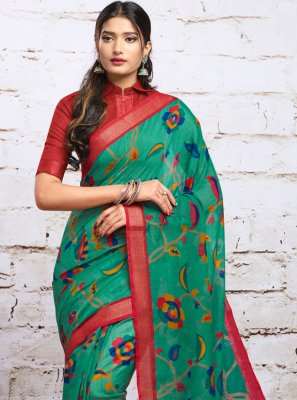 Green Digital Print Silk Contemporary Saree