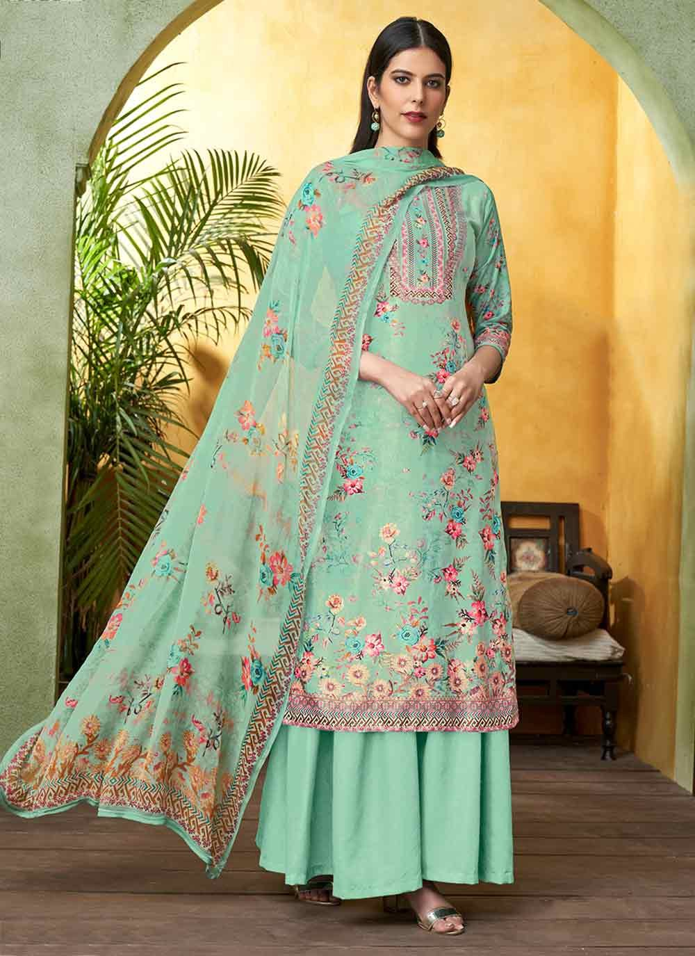 Green Digital Print Viscose Palazzo Salwar Suit