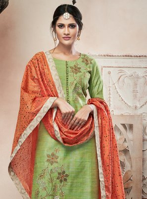 Green Embroidered Ankle Length Salwar Suit