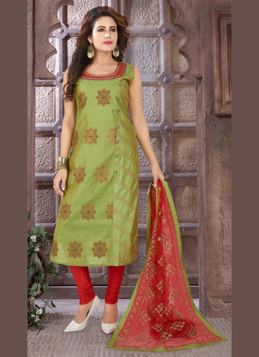 Green Embroidered Art Silk Bollywood Salwar Kameez
