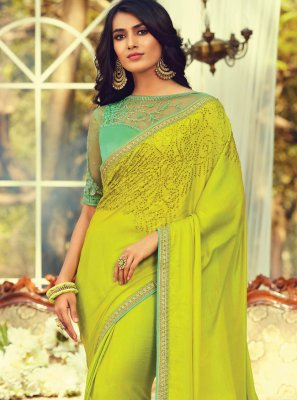 Green Embroidered Art Silk Contemporary Saree