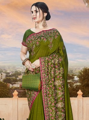 Green Embroidered Art Silk Designer Bridal Sarees