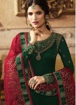 Green Embroidered Art Silk Salwar Suit