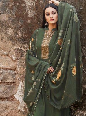 Green Embroidered Bollywood Salwar Kameez