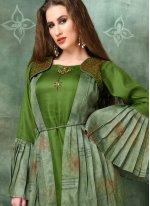 Green Embroidered Casual Kurti
