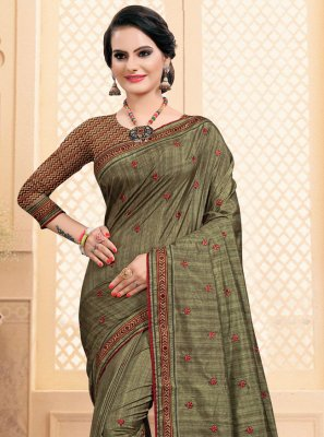 Green Embroidered Ceremonial Bollywood Saree