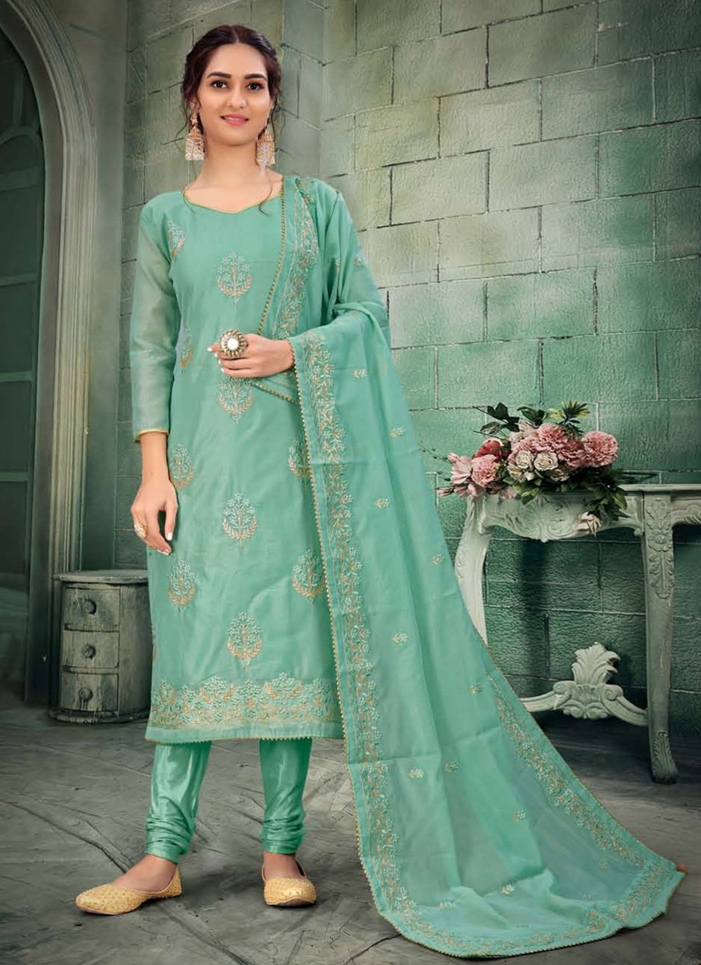 Green Embroidered Churidar Salwar Kameez