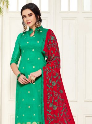Green Embroidered Churidar Salwar Suit