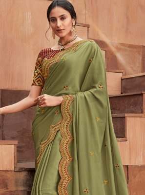 Green Embroidered Classic Saree