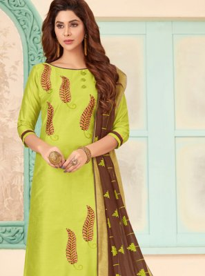 Green Embroidered Cotton Designer Salwar Kameez