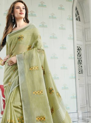 Green Embroidered Cotton Designer Saree