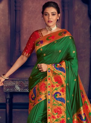 Green Embroidered Designer Contemporary Saree