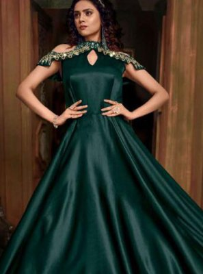 Green Embroidered Designer Gown