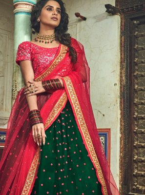 Green Embroidered Designer Lehenga Choli