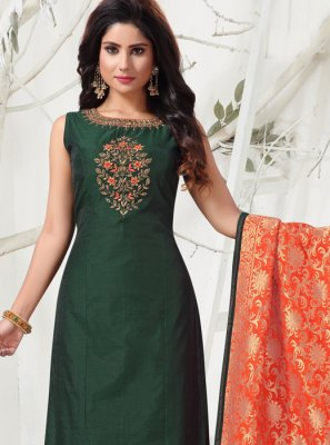 Green Embroidered Designer Salwar Kameez