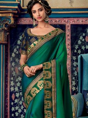 Green Embroidered Designer Saree